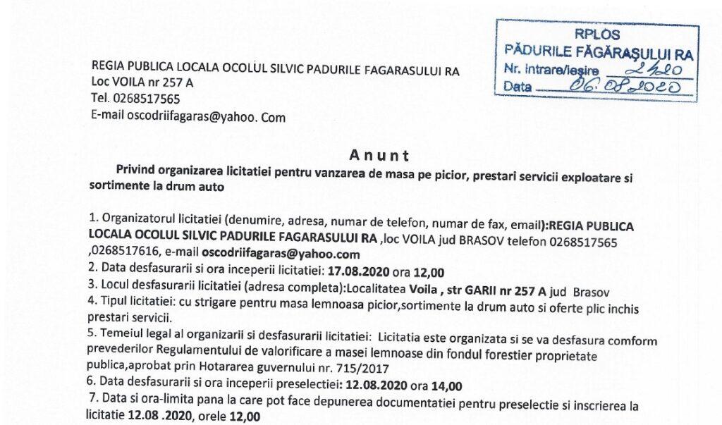 anunt licitatie 17.08.2020