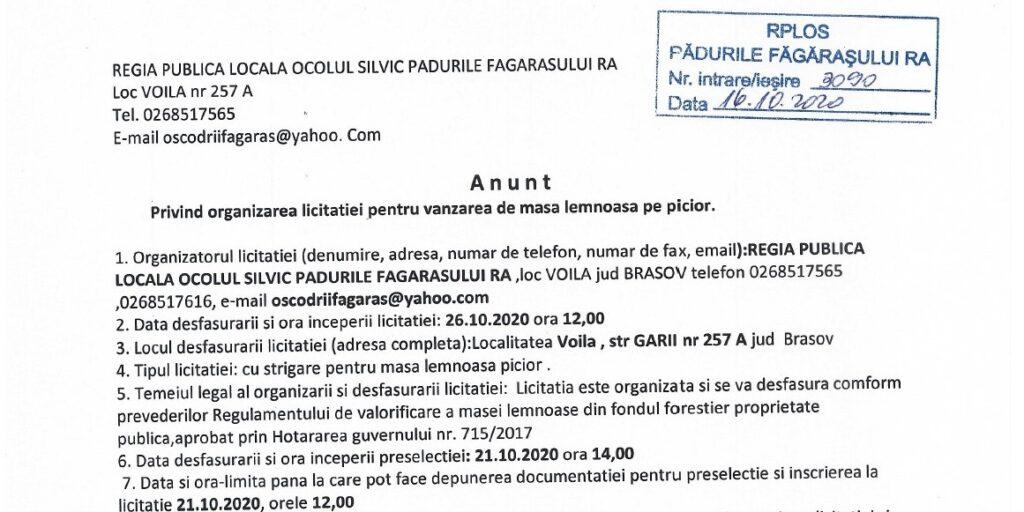 licitatie 26.10.2020